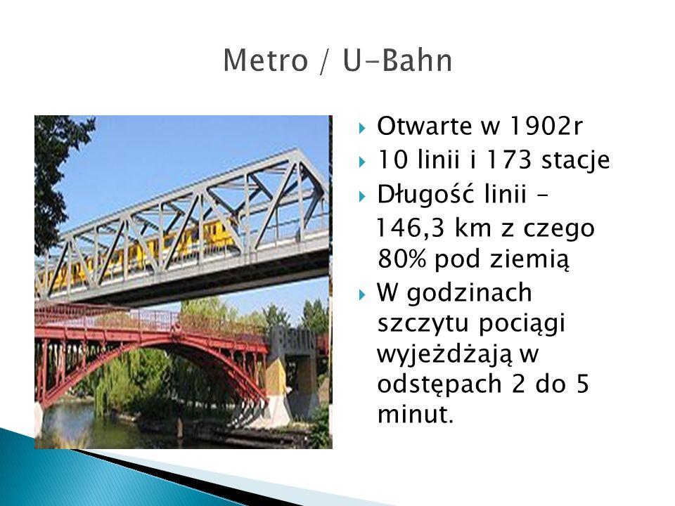  Otwarte w 1902r  10 linii i 173 stacje  Długość linii – 146,3 km z czego 80% pod ziemią  W godzinach szczytu pociągi wyjeżdżają w odstępach 2 do