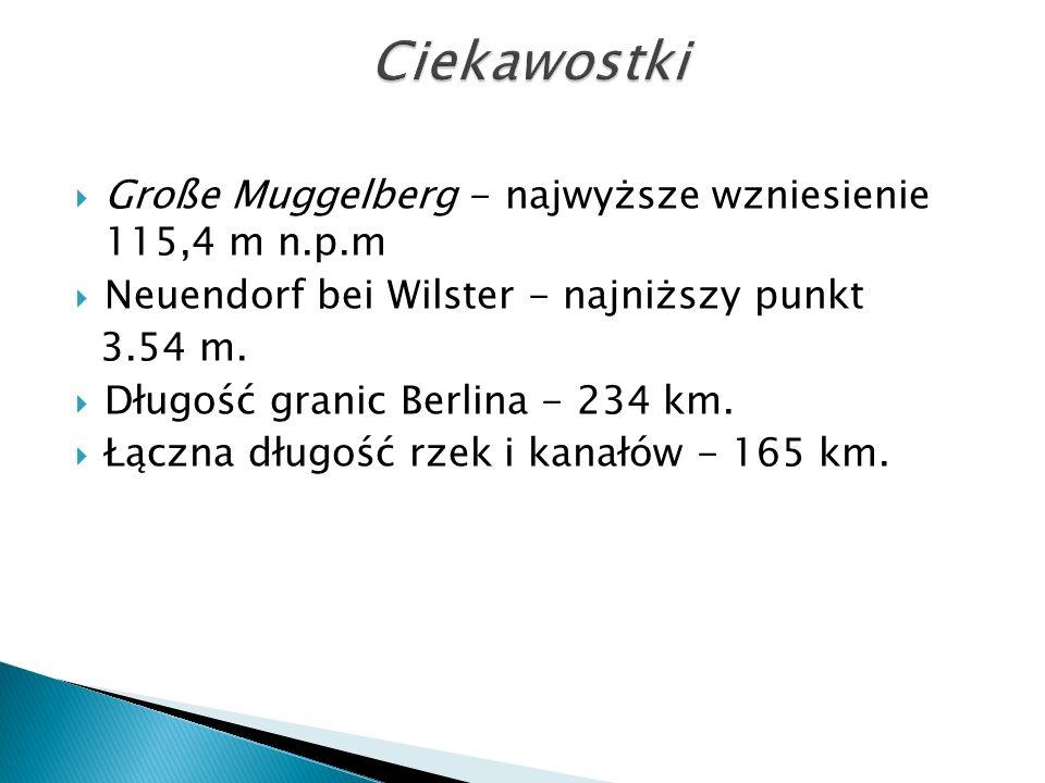  Große Muggelberg - najwyższe wzniesienie 115,4 m n.p.m  Neuendorf bei Wilster - najniższy punkt 3.54 m.  Długość granic Berlina - 234 km.  Łączna