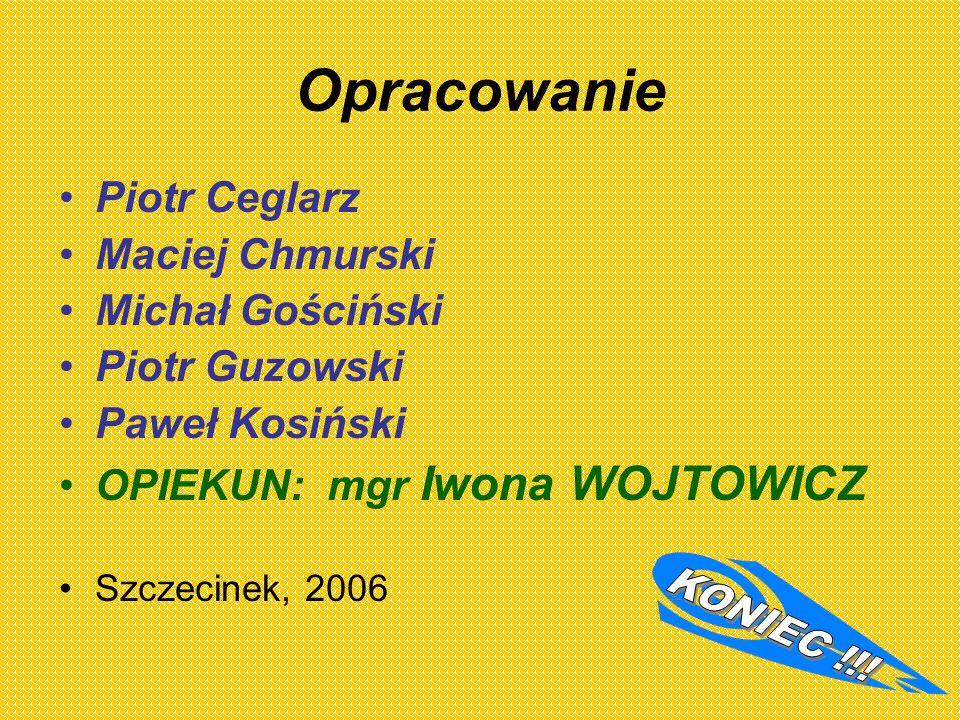 Opracowanie Piotr Ceglarz Maciej Chmurski Michał Gościński Piotr Guzowski Paweł Kosiński OPIEKUN: mgr Iwona WOJTOWICZ Szczecinek, 2006