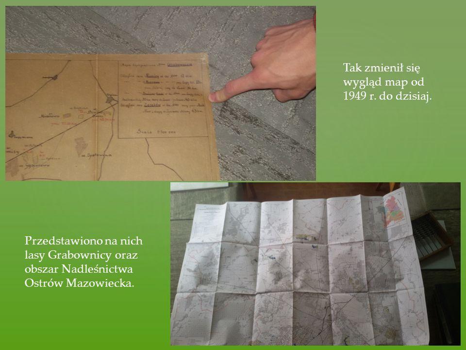 Przedstawiono na nich lasy Grabownicy oraz obszar Nadleśnictwa Ostrów Mazowiecka. Tak zmienił się wygląd map od 1949 r. do dzisiaj.