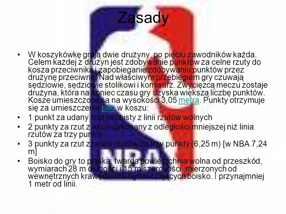 Zasady W koszykówkę grają dwie drużyny, po pięciu zawodników każda. Celem każdej z drużyn jest zdobywanie punktów za celne rzuty do kosza przeciwnika