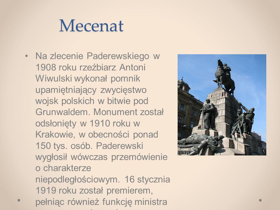 Mecenat Na zlecenie Paderewskiego w 1908 roku rzeźbiarz Antoni Wiwulski wykonał pomnik upamiętniający zwycięstwo wojsk polskich w bitwie pod Grunwaldem.