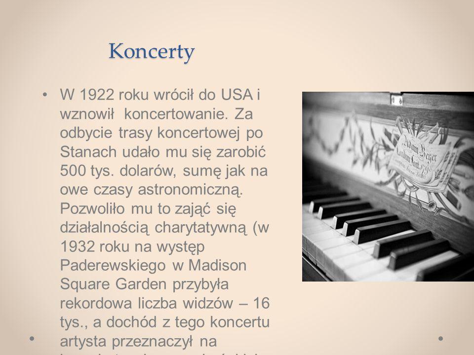 Koncerty W 1922 roku wrócił do USA i wznowił koncertowanie.