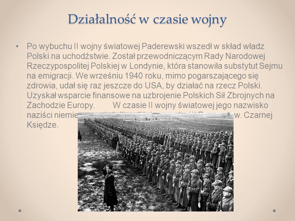 Działalność w czasie wojny Po wybuchu II wojny światowej Paderewski wszedł w skład władz Polski na uchodźstwie.