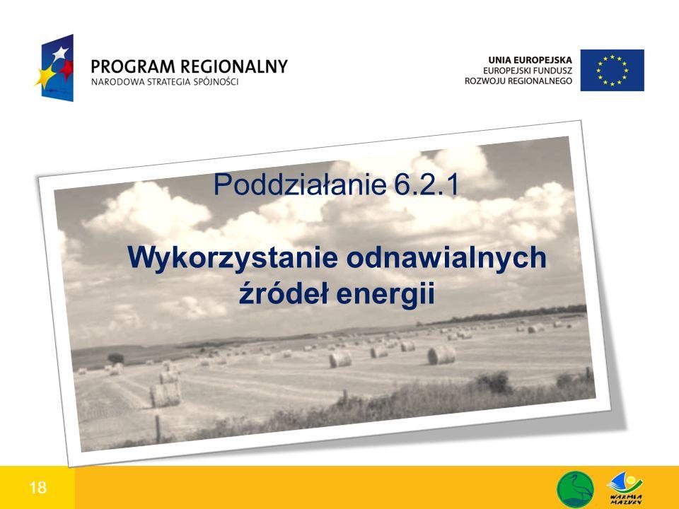 18 1 Poddziałanie 6.2.1 Wykorzystanie odnawialnych źródeł energii