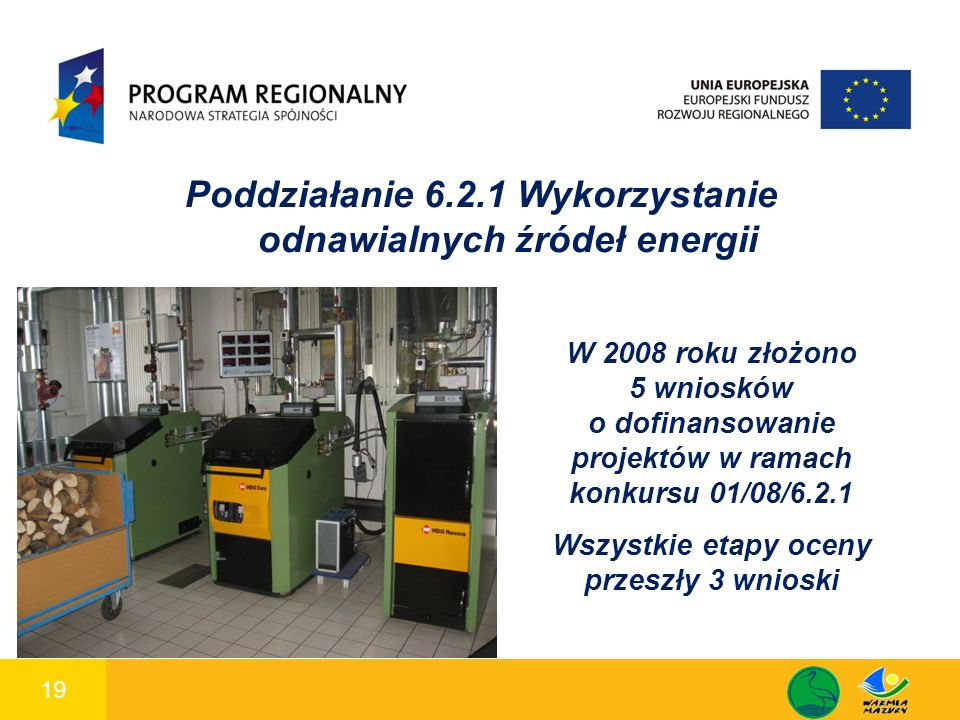 19 1 Poddziałanie 6.2.1 Wykorzystanie odnawialnych źródeł energii W 2008 roku złożono 5 wniosków o dofinansowanie projektów w ramach konkursu 01/08/6.