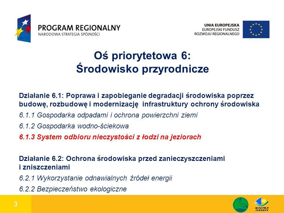 3 1 Oś priorytetowa 6: Środowisko przyrodnicze Działanie 6.1: Poprawa i zapobieganie degradacji środowiska poprzez budowę, rozbudowę i modernizację infrastruktury ochrony środowiska 6.1.1 Gospodarka odpadami i ochrona powierzchni ziemi 6.1.2 Gospodarka wodno-ściekowa 6.1.3 System odbioru nieczystości z łodzi na jeziorach Działanie 6.2: Ochrona środowiska przed zanieczyszczeniami i zniszczeniami 6.2.1 Wykorzystanie odnawialnych źródeł energii 6.2.2 Bezpieczeństwo ekologiczne