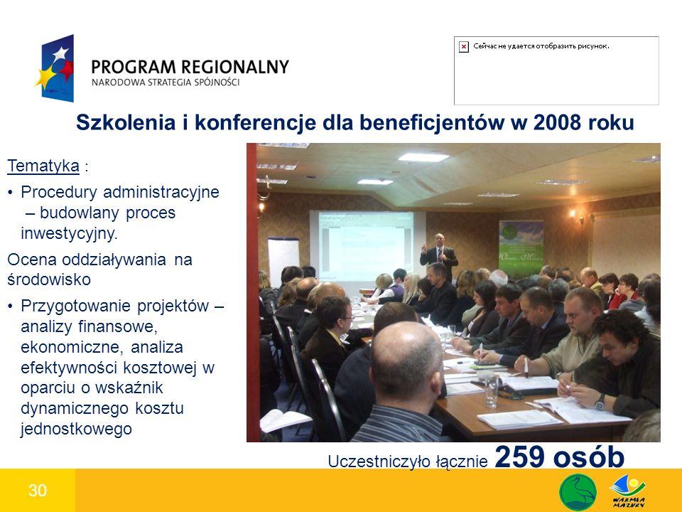 30 1 Szkolenia i konferencje dla beneficjentów w 2008 roku Tematyka : Procedury administracyjne – budowlany proces inwestycyjny. Ocena oddziaływania n