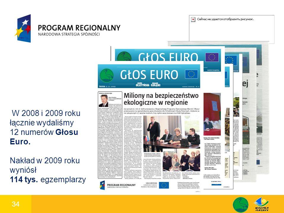 34 1 W 2008 i 2009 roku łącznie wydaliśmy 12 numerów Głosu Euro. Nakład w 2009 roku wyniósł 114 tys. egzemplarzy