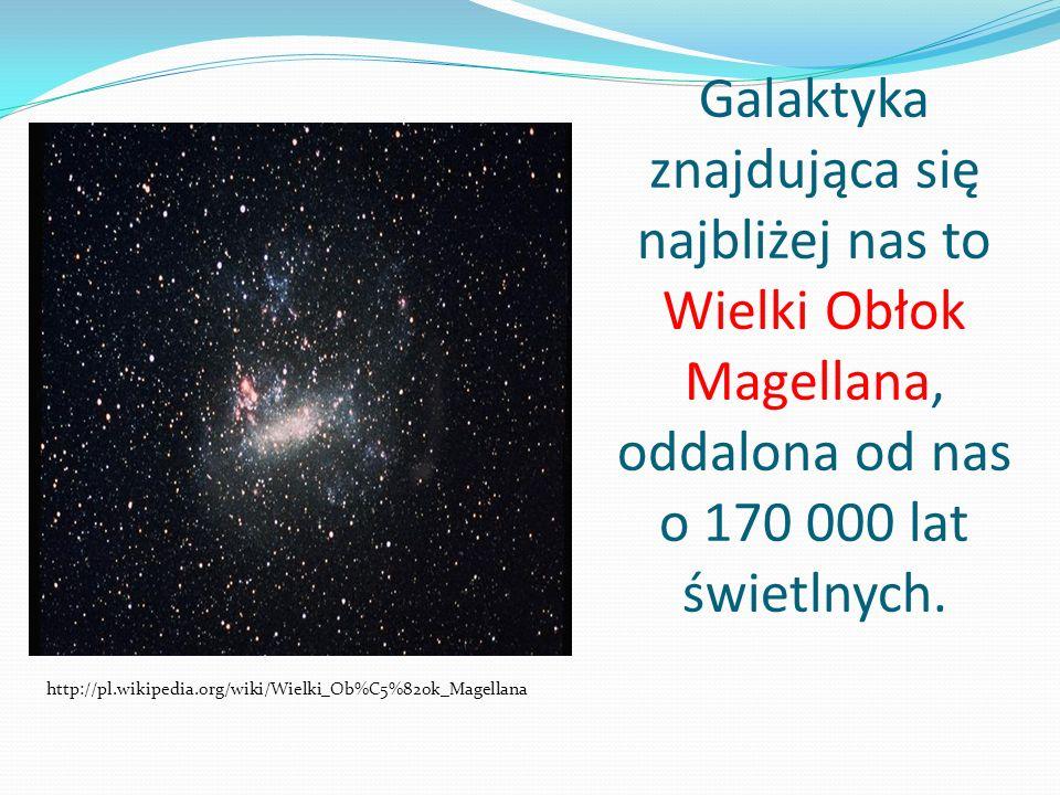 Galaktyka znajdująca się najbliżej nas to Wielki Obłok Magellana, oddalona od nas o 170 000 lat świetlnych. http://pl.wikipedia.org/wiki/Wielki_Ob%C5%