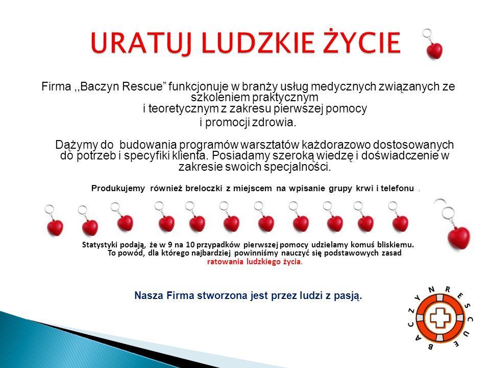Firma,,Baczyn Rescue funkcjonuje w branży usług medycznych związanych ze szkoleniem praktycznym i teoretycznym z zakresu pierwszej pomocy i promocji zdrowia.