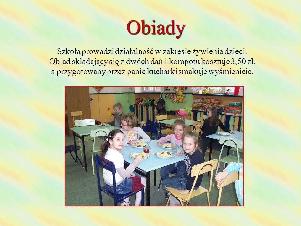 Obiady Szkoła prowadzi działalność w zakresie żywienia dzieci.