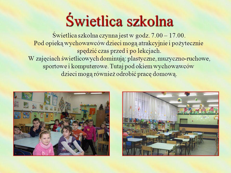 Świetlica szkolna Świetlica szkolna czynna jest w godz. 7.00 – 17.00. Pod opieką wychowawców dzieci mogą atrakcyjnie i pożytecznie spędzić czas przed
