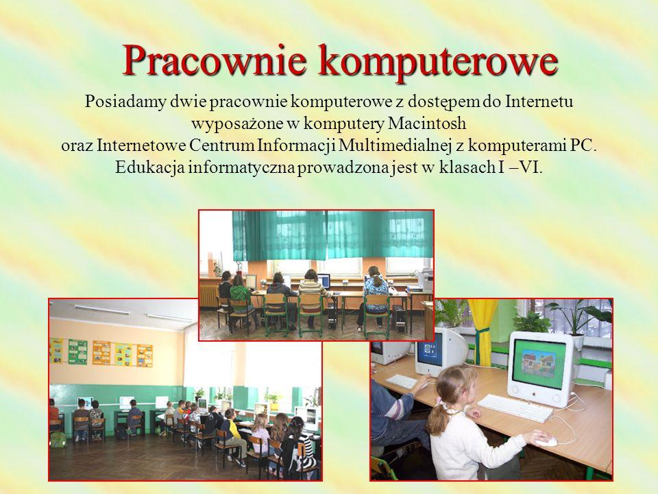 Pracownie komputerowe Posiadamy dwie pracownie komputerowe z dostępem do Internetu wyposażone w komputery Macintosh oraz Internetowe Centrum Informacji Multimedialnej z komputerami PC.
