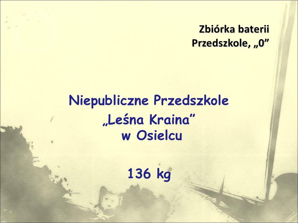 """Niepubliczne Przedszkole """"Leśna Kraina w Osielcu 136 kg Zbiórka baterii Przedszkole, """"0 Przedszkole, """"0"""