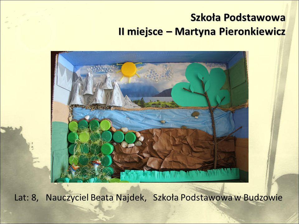 Lat: 8, Nauczyciel Beata Najdek, Szkoła Podstawowa w Budzowie Szkoła Podstawowa II miejsce – Martyna Pieronkiewicz