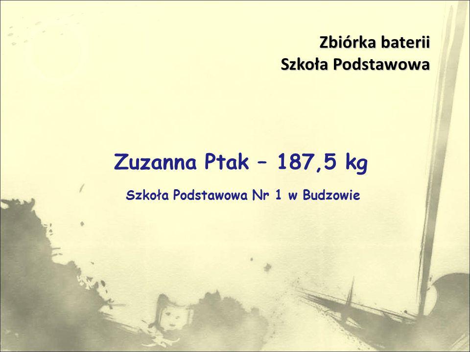 Zuzanna Ptak – 187,5 kg Szkoła Podstawowa Nr 1 w Budzowie Zbiórka baterii Szkoła Podstawowa