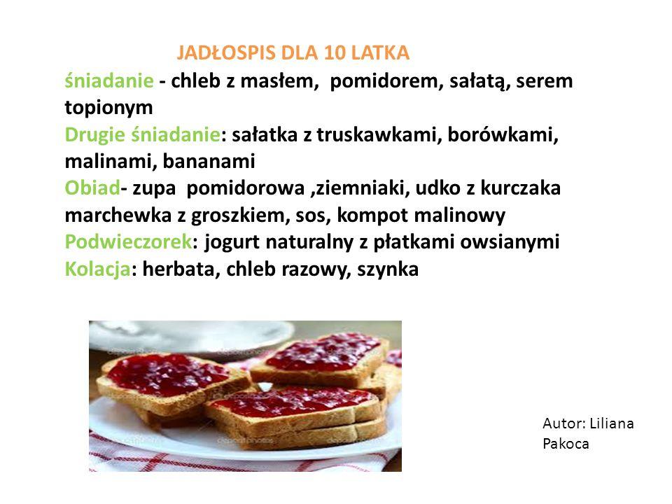 Autor: Liliana Pakoca JADŁOSPIS DLA 10 LATKA śniadanie - chleb z masłem, pomidorem, sałatą, serem topionym Drugie śniadanie: sałatka z truskawkami, borówkami, malinami, bananami Obiad- zupa pomidorowa,ziemniaki, udko z kurczaka marchewka z groszkiem, sos, kompot malinowy Podwieczorek: jogurt naturalny z płatkami owsianymi Kolacja: herbata, chleb razowy, szynka