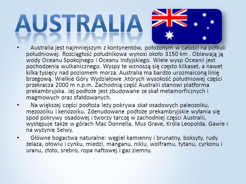 Australia jest najmniejszym z kontynentów, położonym w całości na półkuli południowej. Rozciągłość południkowa wynosi około 3150 km. Oblewają ją wody