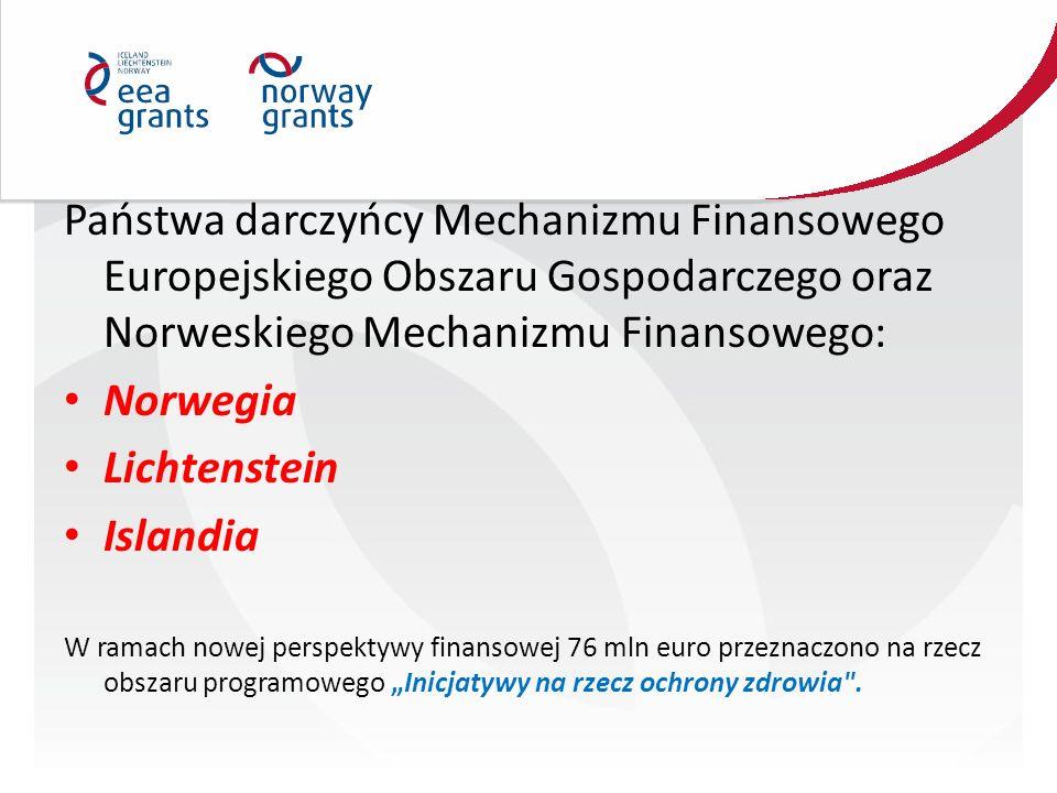 """Państwa darczyńcy Mechanizmu Finansowego Europejskiego Obszaru Gospodarczego oraz Norweskiego Mechanizmu Finansowego: Norwegia Lichtenstein Islandia W ramach nowej perspektywy finansowej 76 mln euro przeznaczono na rzecz obszaru programowego """"Inicjatywy na rzecz ochrony zdrowia ."""