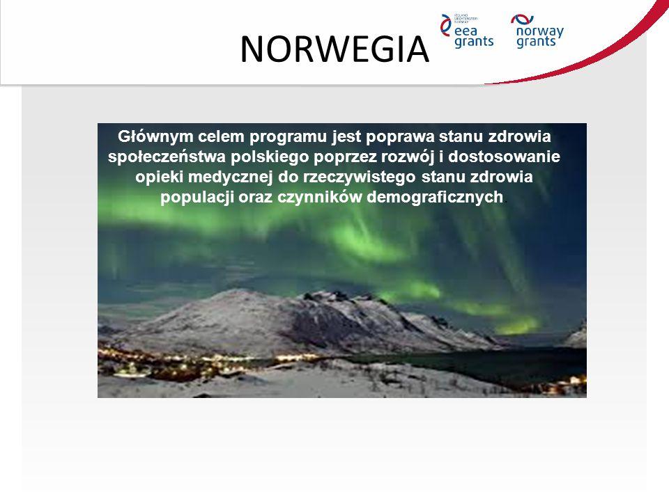 NORWEGIA Głównym celem programu jest poprawa stanu zdrowia społeczeństwa polskiego poprzez rozwój i dostosowanie opieki medycznej do rzeczywistego stanu zdrowia populacji oraz czynników demograficznych.