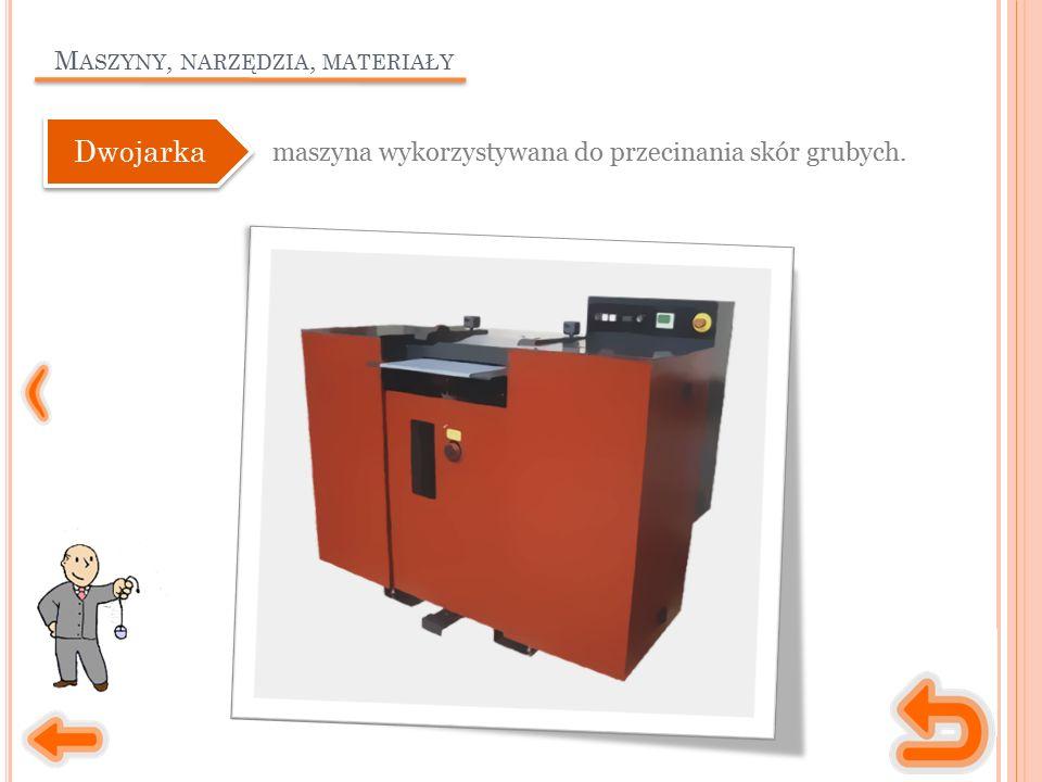 M ASZYNY, NARZĘDZIA, MATERIAŁY maszyna wykorzystywana do przecinania skór grubych. Dwojarka