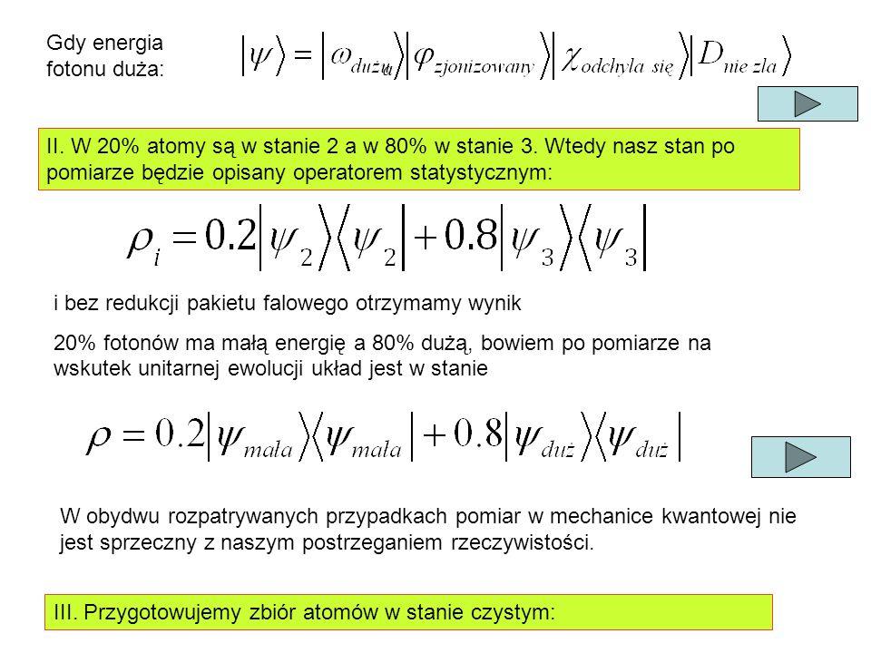 Gdy energia fotonu duża: II. W 20% atomy są w stanie 2 a w 80% w stanie 3.