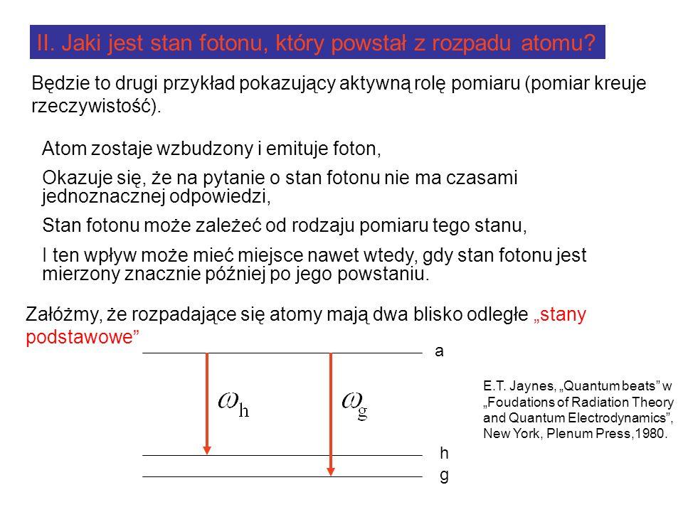 II. Jaki jest stan fotonu, który powstał z rozpadu atomu.
