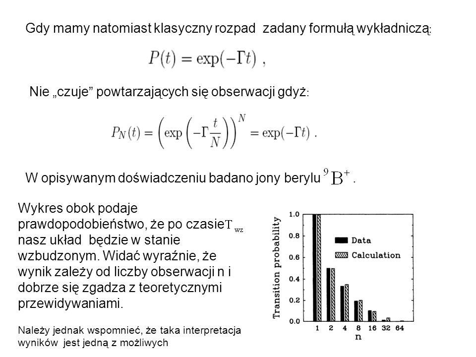 """Gdy mamy natomiast klasyczny rozpad zadany formułą wykładniczą : Nie """"czuje powtarzających się obserwacji gdyż : W opisywanym doświadczeniu badano jony berylu."""