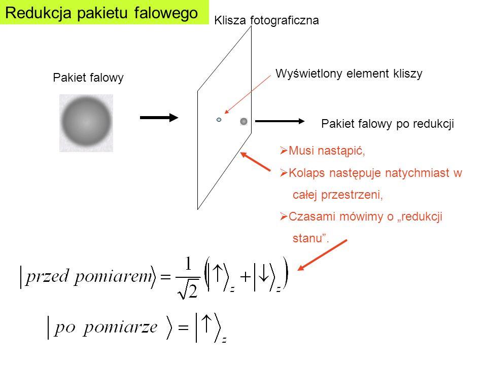 Wchodzący stan kwantowy MieszaczIdealny detektor Stan wyjściowy Makroskopowy detektor Mieszacz – obiekt makroskopowy, opisuje wszystkie niedokładności rzeczywistego eksperymentu Idealny detektor – dokonuje właściwego pomiaru, nie podlega wpływowi otoczenia Mieszacz – tu odbywa się całe oddziaływanie z otoczeniem, i wewnątrz samego detektora.