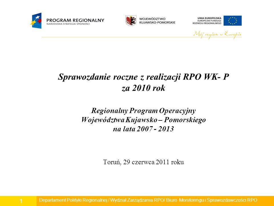 Sprawozdanie roczne z realizacji RPO WK- P za 2010 rok Regionalny Program Operacyjny Województwa Kujawsko – Pomorskiego na lata 2007 - 2013 Toruń, 29 czerwca 2011 roku Departament Polityki Regionalnej / Wydział Zarządzania RPO/ Biuro Monitoringu i Sprawozdawczości RPO 1