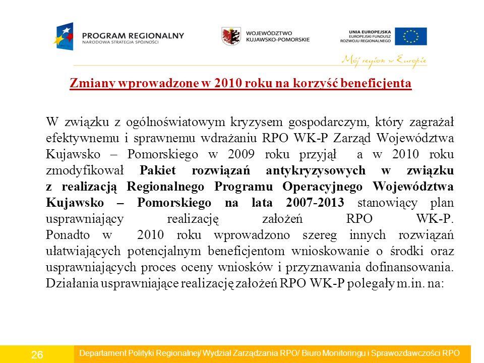 Zmiany wprowadzone w 2010 roku na korzyść beneficjenta W związku z ogólnoświatowym kryzysem gospodarczym, który zagrażał efektywnemu i sprawnemu wdrażaniu RPO WK-P Zarząd Województwa Kujawsko – Pomorskiego w 2009 roku przyjął a w 2010 roku zmodyfikował Pakiet rozwiązań antykryzysowych w związku z realizacją Regionalnego Programu Operacyjnego Województwa Kujawsko – Pomorskiego na lata 2007-2013 stanowiący plan usprawniający realizację założeń RPO WK-P.