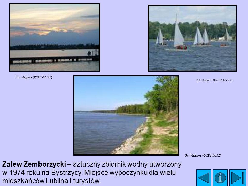 Zalew Zemborzycki – sztuczny zbiornik wodny utworzony w 1974 roku na Bystrzycy. Miejsce wypoczynku dla wielu mieszkańców Lublina i turystów. Fot: Magk