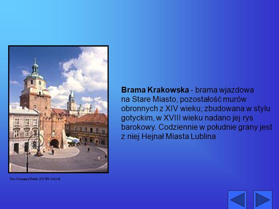Brama Krakowska - brama wjazdowa na Stare Miasto, pozostałość murów obronnych z XIV wieku; zbudowana w stylu gotyckim, w XVIII wieku nadano jej rys ba