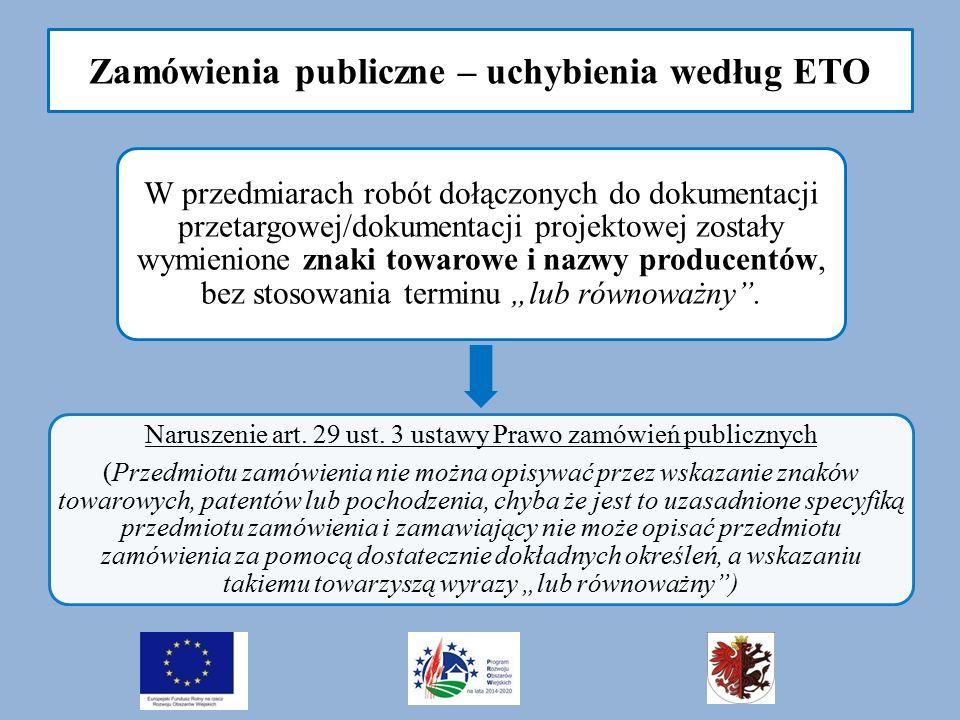 """Zamówienia publiczne – uchybienia według ETO W przedmiarach robót dołączonych do dokumentacji przetargowej/dokumentacji projektowej zostały wymienione znaki towarowe i nazwy producentów, bez stosowania terminu """"lub równoważny ."""