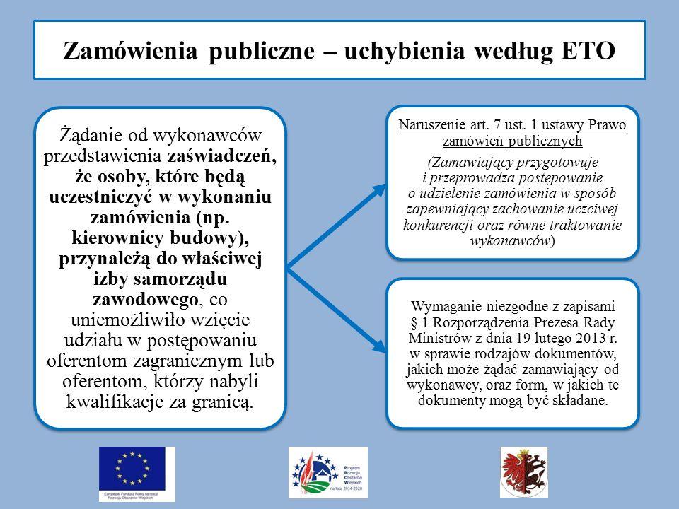 Zamówienia publiczne – uchybienia według ETO Żądanie od wykonawców przedstawienia zaświadczeń, że osoby, które będą uczestniczyć w wykonaniu zamówienia (np.