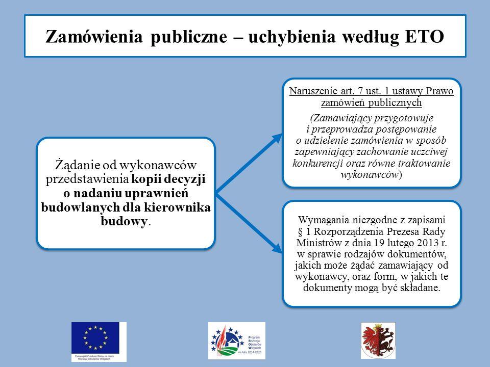 Zamówienia publiczne – uchybienia według ETO Żądanie od wykonawców przedstawienia kopii decyzji o nadaniu uprawnień budowlanych dla kierownika budowy.