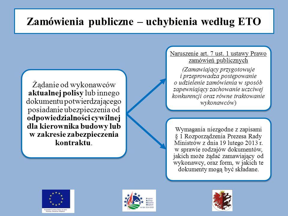 Zamówienia publiczne – uchybienia według ETO Żądanie od wykonawców aktualnej polisy lub innego dokumentu potwierdzającego posiadanie ubezpieczenia od