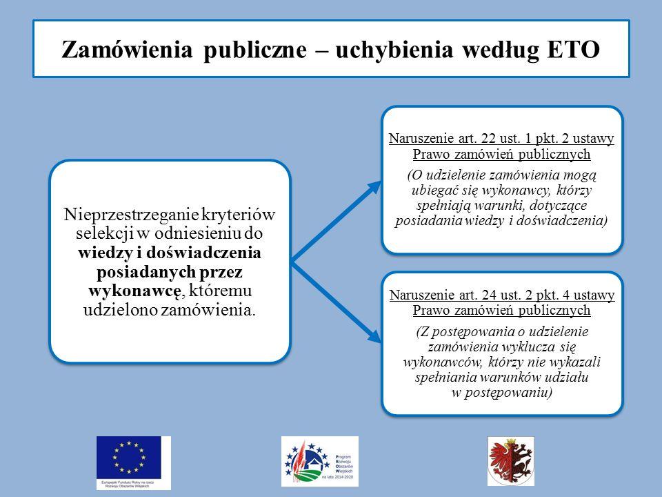 Zamówienia publiczne – uchybienia według ETO Nieprzestrzeganie kryteriów selekcji w odniesieniu do wiedzy i doświadczenia posiadanych przez wykonawcę,