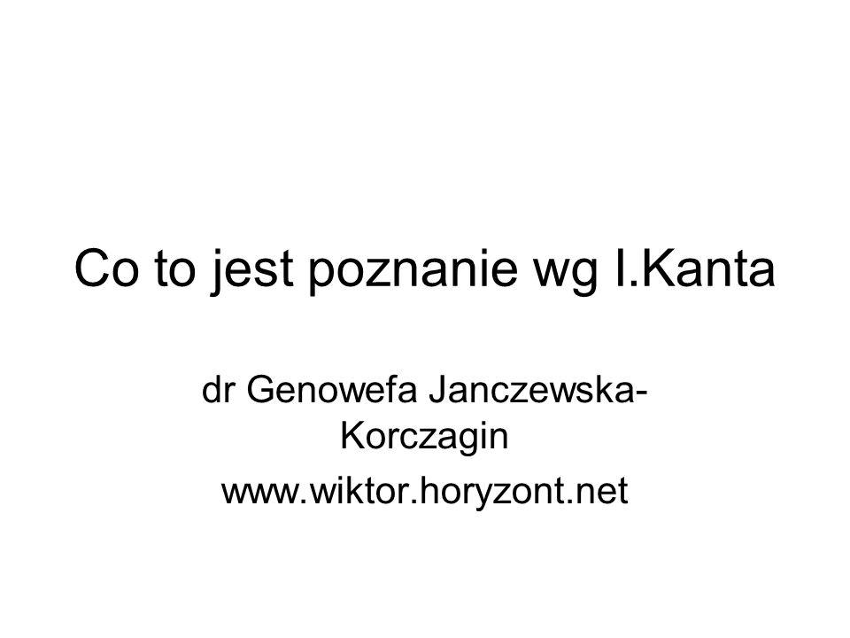 Co to jest poznanie wg I.Kanta dr Genowefa Janczewska- Korczagin www.wiktor.horyzont.net