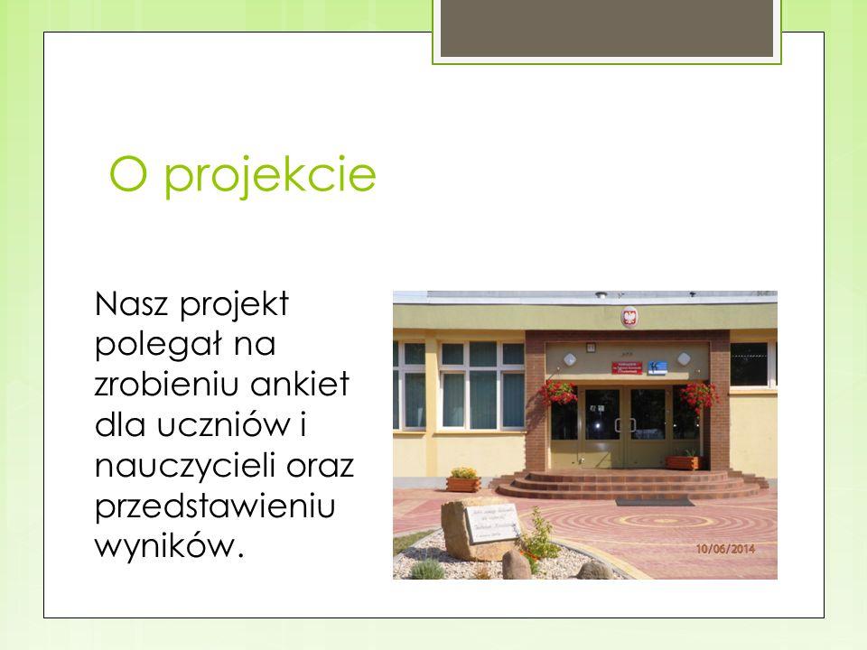 O projekcie Nasz projekt polegał na zrobieniu ankiet dla uczniów i nauczycieli oraz przedstawieniu wyników.
