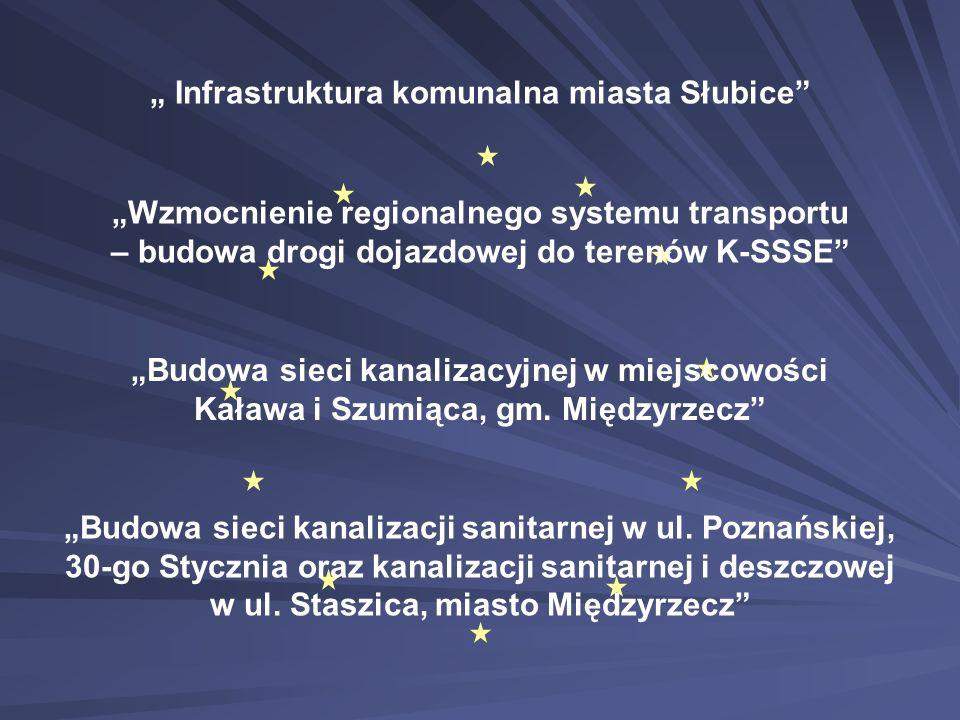 """"""" Infrastruktura komunalna miasta Słubice"""" """"Wzmocnienie regionalnego systemu transportu – budowa drogi dojazdowej do terenów K-SSSE"""" """"Budowa sieci kan"""