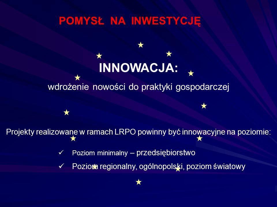 INNOWACJA: wdrożenie nowości do praktyki gospodarczej Projekty realizowane w ramach LRPO powinny być innowacyjne na poziomie: Poziom minimalny – przed