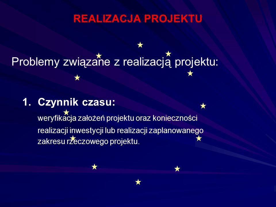 1.Czynnik czasu: weryfikacja założeń projektu oraz konieczności realizacji inwestycji lub realizacji zaplanowanego zakresu rzeczowego projektu. Proble