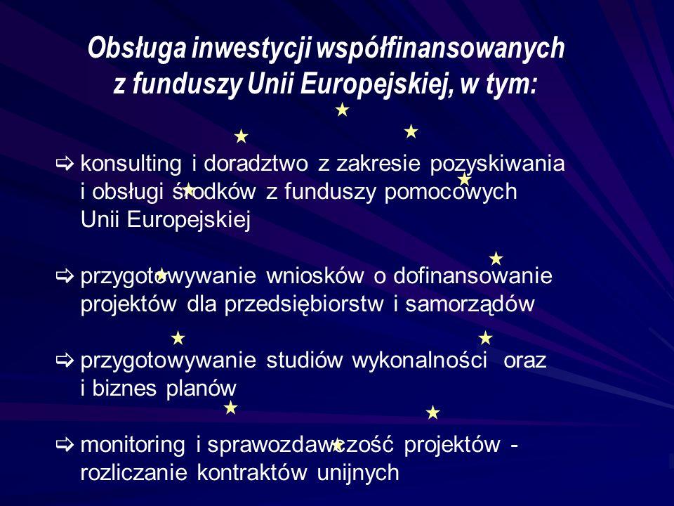 Obsługa inwestycji współfinansowanych z funduszy Unii Europejskiej, w tym:  konsulting i doradztwo z zakresie pozyskiwania i obsługi środków z fundus