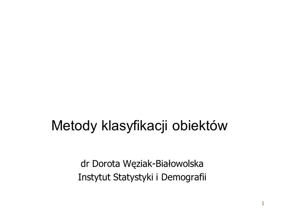 Metoda najdalszego sąsiedztwa – odległość między nowoutworzonym skupieniem i jednostką zewnętrzną ustalana jest jako największa odległość z odległości między jednostkami w tym skupieniu i jednostką zewnętrzną – odległość między dwoma skupieniami ustalana jest jako największa odległość z odległości między jednostkami z jednego z drugiego skupienia 12 dr Dorota Węziak-Białowolska, ISiD, SGH