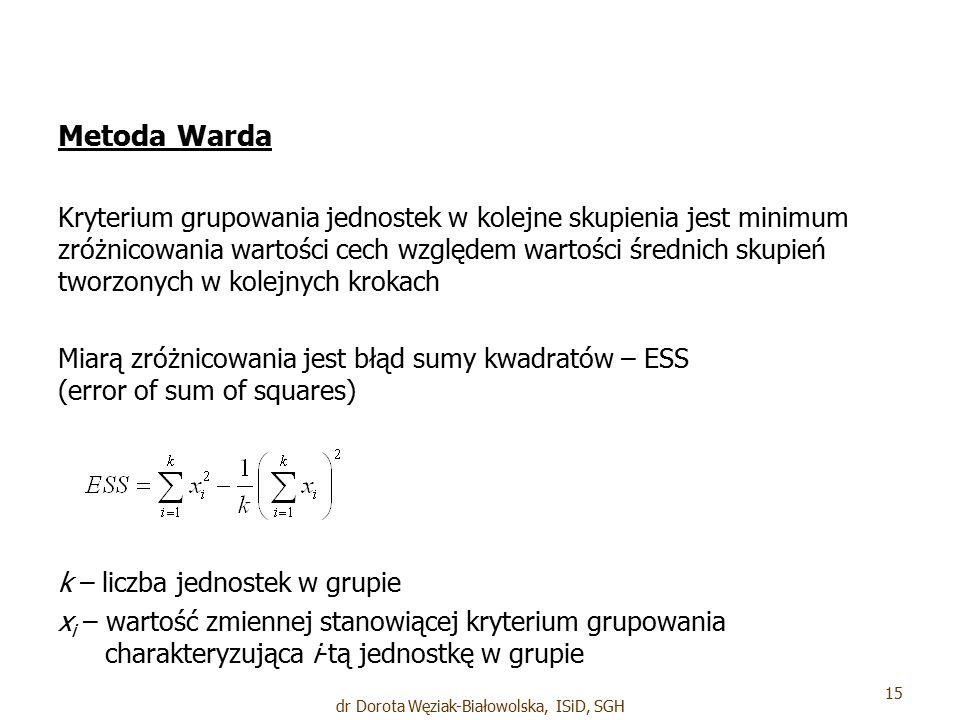 Metoda Warda Kryterium grupowania jednostek w kolejne skupienia jest minimum zróżnicowania wartości cech względem wartości średnich skupień tworzonych w kolejnych krokach Miarą zróżnicowania jest błąd sumy kwadratów – ESS (error of sum of squares) k – liczba jednostek w grupie x i – wartość zmiennej stanowiącej kryterium grupowania charakteryzująca i-tą jednostkę w grupie 15 dr Dorota Węziak-Białowolska, ISiD, SGH
