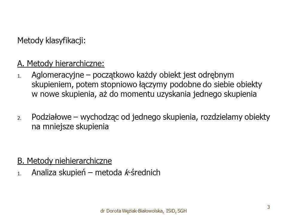 Metody klasyfikacji: A. Metody hierarchiczne: 1. 1.