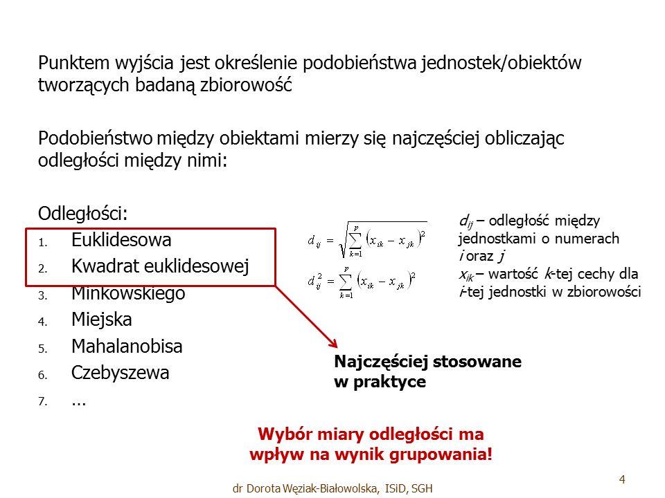 Jednostki, w jakich mierzone są zmienne, mają wpływ na wynik pomiaru Jeśli zmienne będące kryteriami klasyfikacji nie są jednomianowe, zalecane jest wystandaryzowanie lub znormalizowanie zmiennych przed przystąpieniem do procedury grupowania dr Dorota Węziak-Białowolska, ISiD, SGH 5