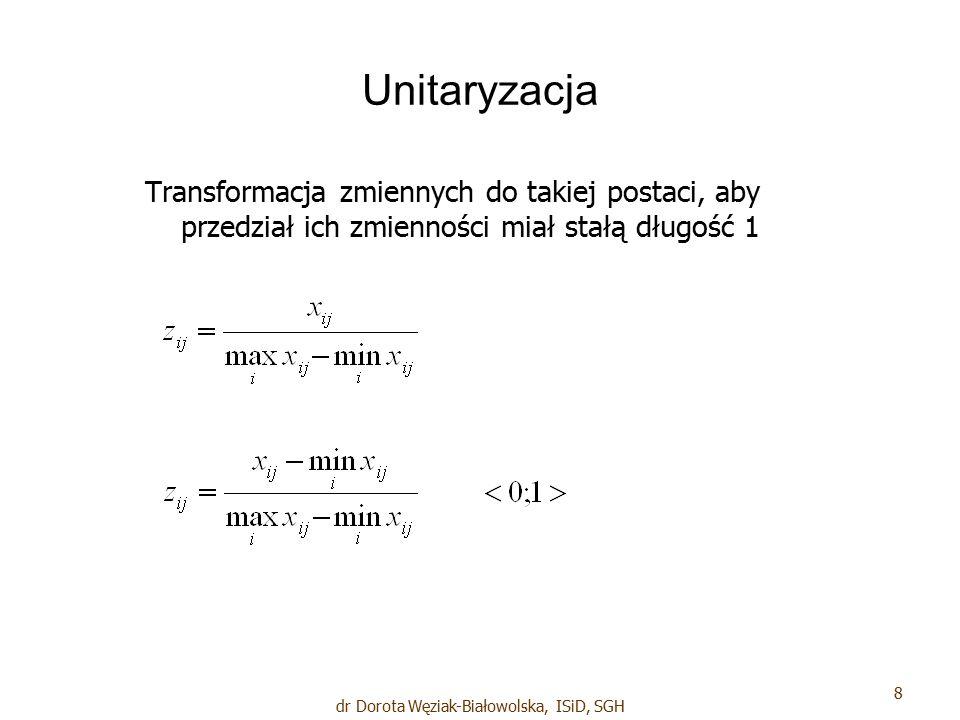 Unitaryzacja Transformacja zmiennych do takiej postaci, aby przedział ich zmienności miał stałą długość 1 8 dr Dorota Węziak-Białowolska, ISiD, SGH